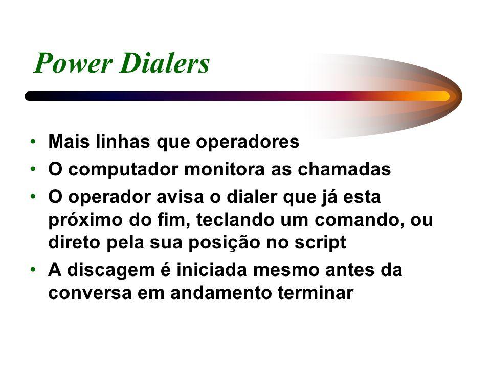 Power Dialers Mais linhas que operadores O computador monitora as chamadas O operador avisa o dialer que já esta próximo do fim, teclando um comando,