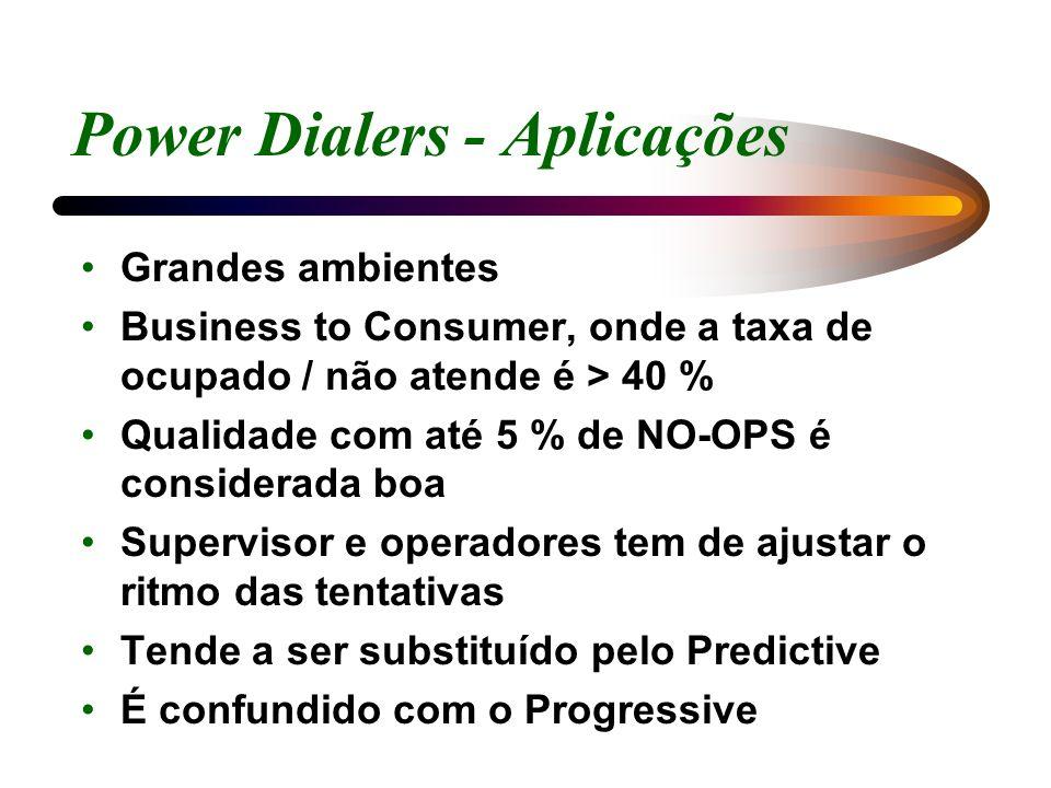 Power Dialers - Aplicações Grandes ambientes Business to Consumer, onde a taxa de ocupado / não atende é > 40 % Qualidade com até 5 % de NO-OPS é cons