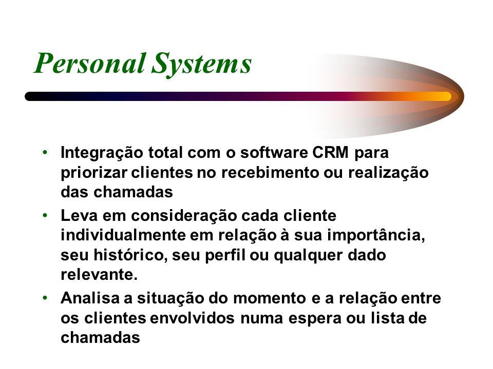 Personal Systems Integração total com o software CRM para priorizar clientes no recebimento ou realização das chamadas Leva em consideração cada clien