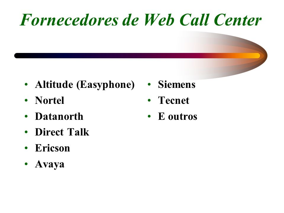 Fornecedores de Web Call Center Altitude (Easyphone) Nortel Datanorth Direct Talk Ericson Avaya Siemens Tecnet E outros
