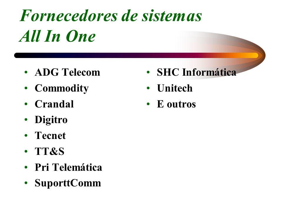 Fornecedores de sistemas All In One ADG Telecom Commodity Crandal Digitro Tecnet TT&S Pri Telemática SuporttComm SHC Informática Unitech E outros