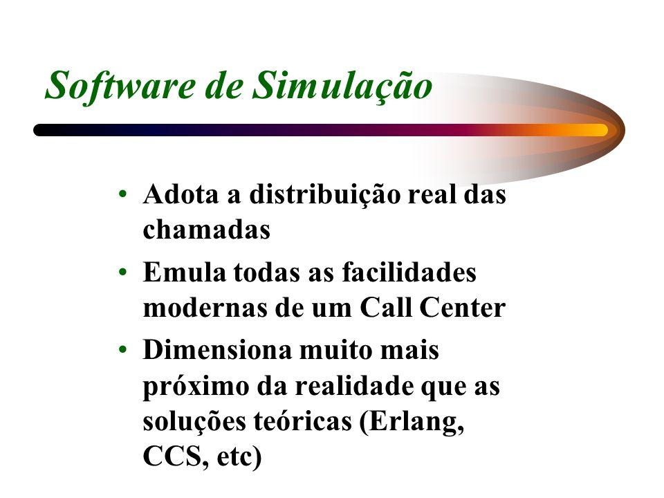 Software de Simulação Adota a distribuição real das chamadas Emula todas as facilidades modernas de um Call Center Dimensiona muito mais próximo da re