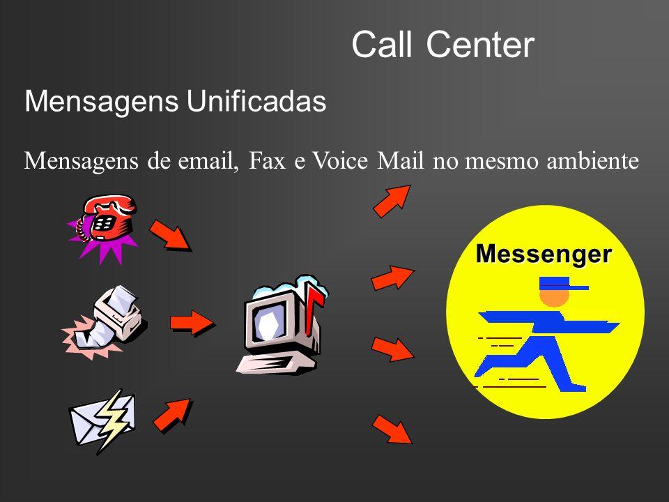 Call Center Mensagens Unificadas Mensagens de email, Fax e Voice Mail no mesmo ambiente Messenger