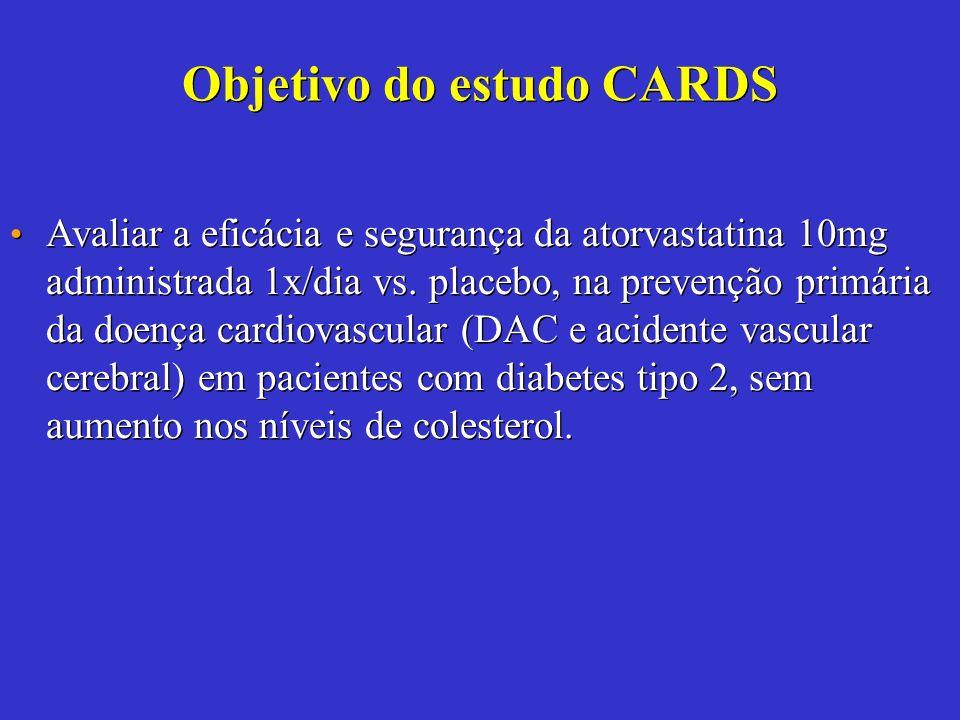Avaliar a eficácia e segurança da atorvastatina 10mg administrada 1x/dia vs. placebo, na prevenção primária da doença cardiovascular (DAC e acidente v
