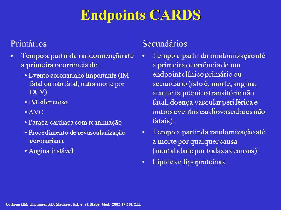 Primários Tempo a partir da randomização até a primeira ocorrência de: Evento coronariano importante (IM fatal ou não fatal, outra morte por DCV) IM s