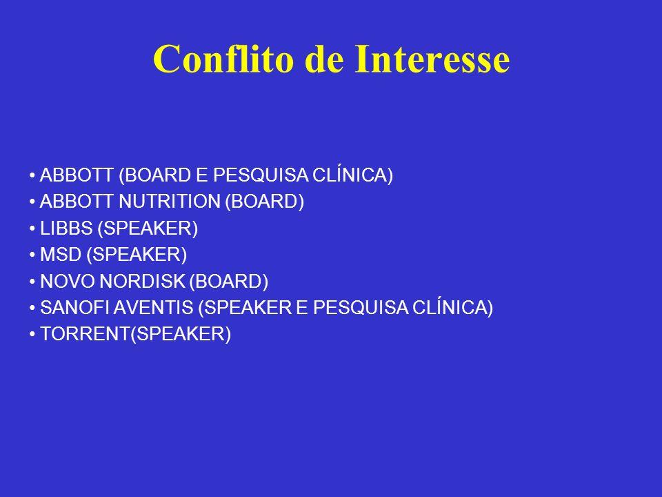 Conflito de Interesse ABBOTT (BOARD E PESQUISA CLÍNICA) ABBOTT NUTRITION (BOARD) LIBBS (SPEAKER) MSD (SPEAKER) NOVO NORDISK (BOARD) SANOFI AVENTIS (SP