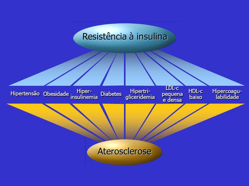 Hipertensão Obesidade Hiper- insulinemia Hiper- insulinemia Diabetes Hipertri- gliceridemia Hipertri- gliceridemia LDL-c pequena e densa LDL-c pequena