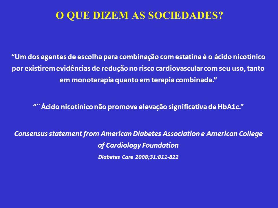 Um dos agentes de escolha para combinação com estatina é o ácido nicotínico por existirem evidências de redução no risco cardiovascular com seu uso, t