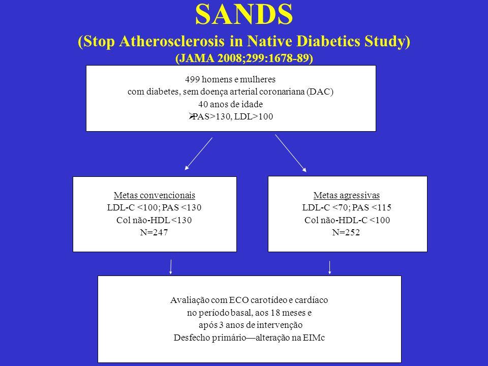 499 homens e mulheres com diabetes, sem doença arterial coronariana (DAC) 40 anos de idade PAS>130, LDL>100 Metas convencionais LDL-C <100; PAS <130 C