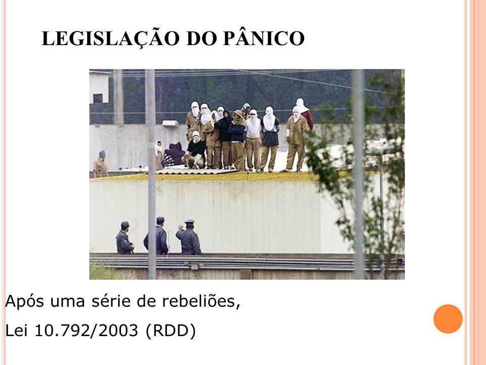 LEGISLAÇÃO DO PÂNICO Após uma série de rebeliões, Lei 10.792/2003 (RDD)