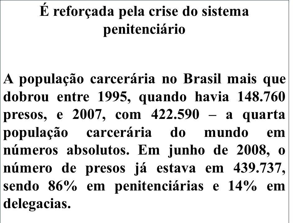 É reforçada pela crise do sistema penitenciário A população carcerária no Brasil mais que dobrou entre 1995, quando havia 148.760 presos, e 2007, com