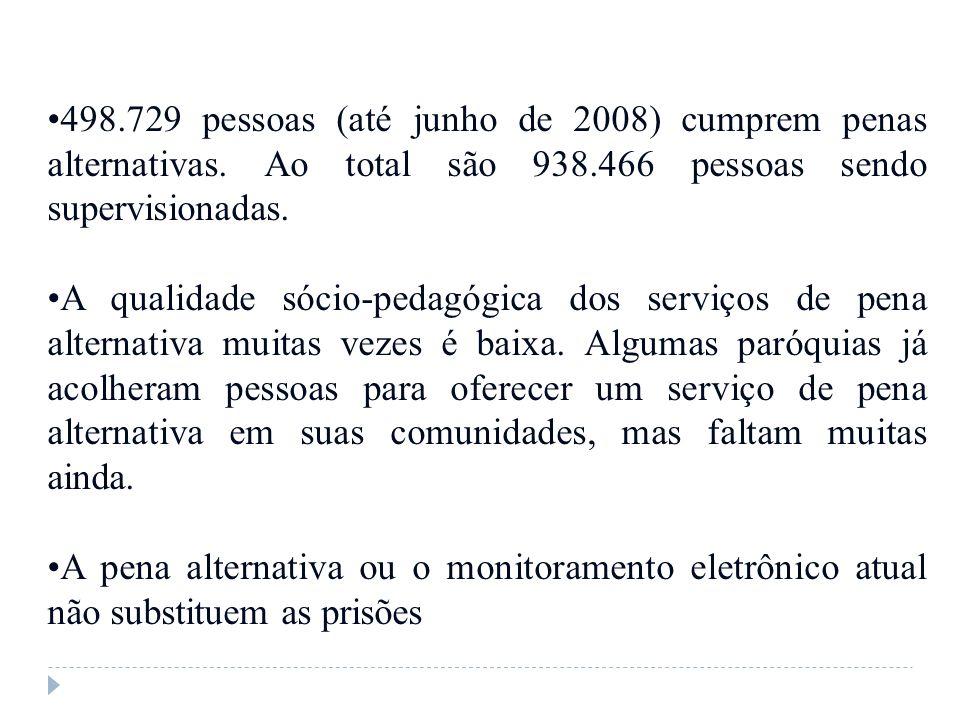 498.729 pessoas (até junho de 2008) cumprem penas alternativas. Ao total são 938.466 pessoas sendo supervisionadas. A qualidade sócio-pedagógica dos s