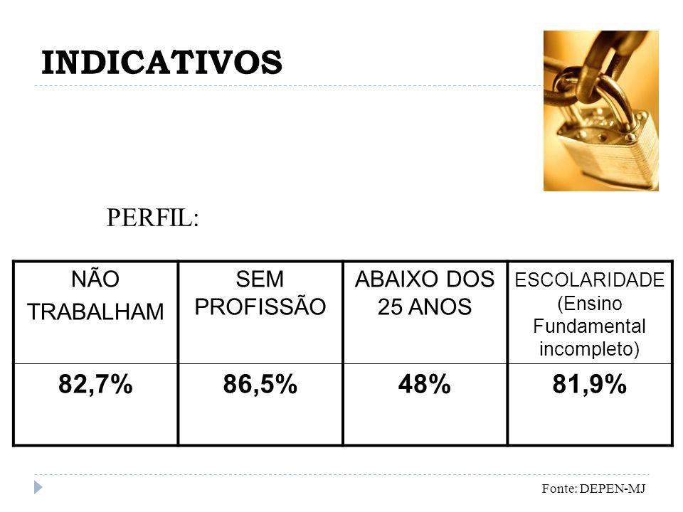 INDICATIVOS NÃO TRABALHAM SEM PROFISSÃO ABAIXO DOS 25 ANOS ESCOLARIDADE (Ensino Fundamental incompleto) 82,7%86,5%48%81,9% Fonte: DEPEN-MJ PERFIL: