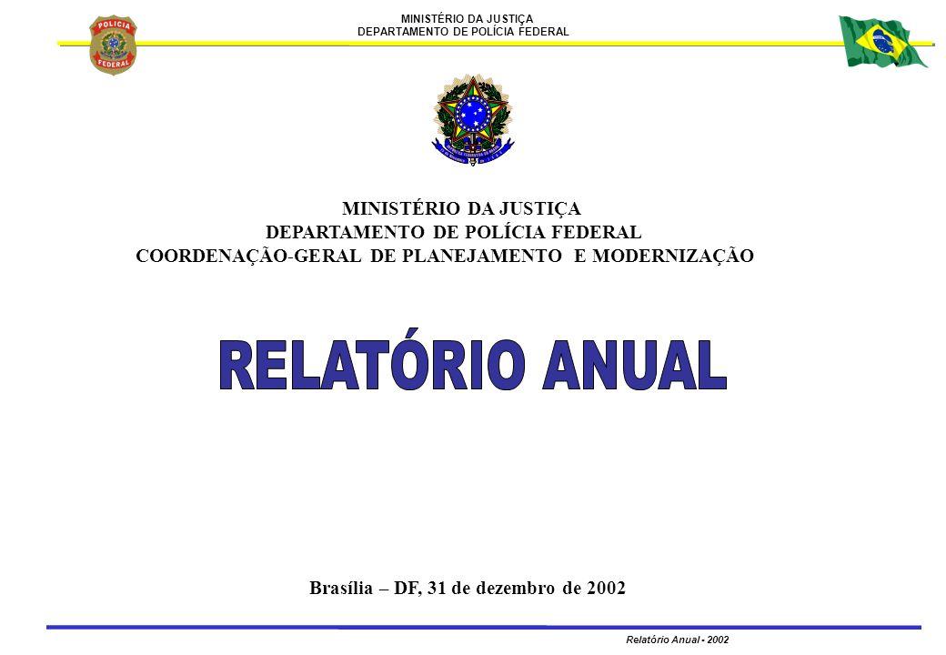 MINISTÉRIO DA JUSTIÇA DEPARTAMENTO DE POLÍCIA FEDERAL Relatório Anual - 2002 2 MINISTÉRIO DA JUSTIÇA DEPARTAMENTO DE POLÍCIA FEDERAL COORDENAÇÃO-GERAL DE PLANEJAMENTO E MODERNIZAÇÃO PRESIDÊNCIA DA REPÚBLICA FERNANDO HENRIQUE CARDOSO PRESIDENTE DA REPÚBLICA MINISTÉRIO DA JUSTIÇA PAULO DE TARSO RAMOS RIBEIRO MINISTRO DE ESTADO DA JUSTIÇA DEPARTAMENTO DE POLÍCIA FEDERAL ARMANDO DE ASSIS POSSA DIRETOR-GERAL