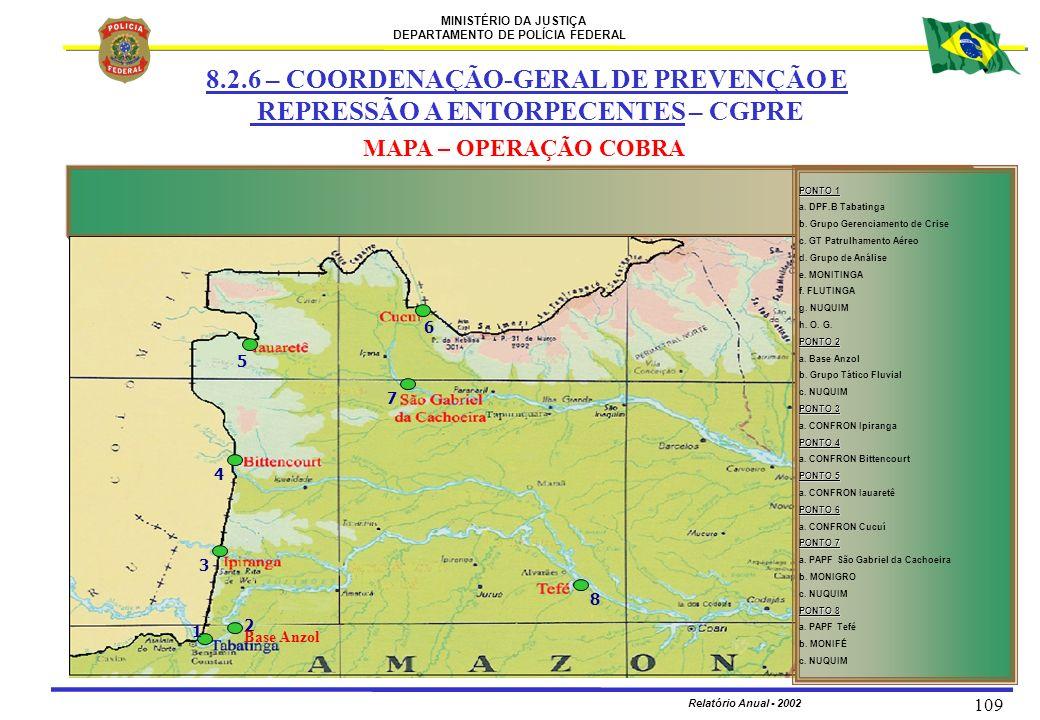 MINISTÉRIO DA JUSTIÇA DEPARTAMENTO DE POLÍCIA FEDERAL Relatório Anual - 2002 109 MAPA – OPERAÇÃO COBRA PONTO 1 a. DPF.B Tabatinga b. Grupo Gerenciamen