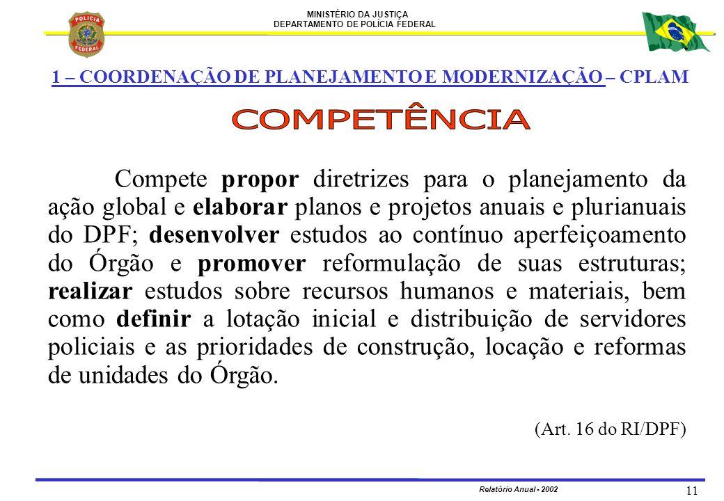 MINISTÉRIO DA JUSTIÇA DEPARTAMENTO DE POLÍCIA FEDERAL Relatório Anual - 2002 11 1 – COORDENAÇÃO DE PLANEJAMENTO E MODERNIZAÇÃO – CPLAM Compete propor