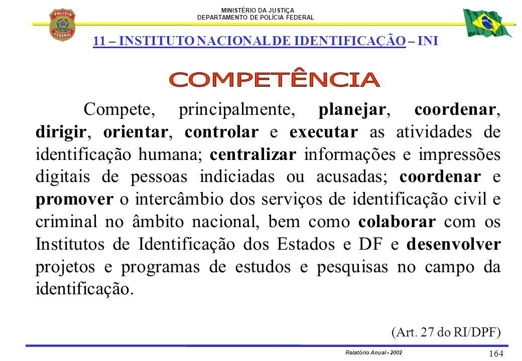 MINISTÉRIO DA JUSTIÇA DEPARTAMENTO DE POLÍCIA FEDERAL Relatório Anual - 2002 164 Compete, principalmente, planejar, coordenar, dirigir, orientar, cont