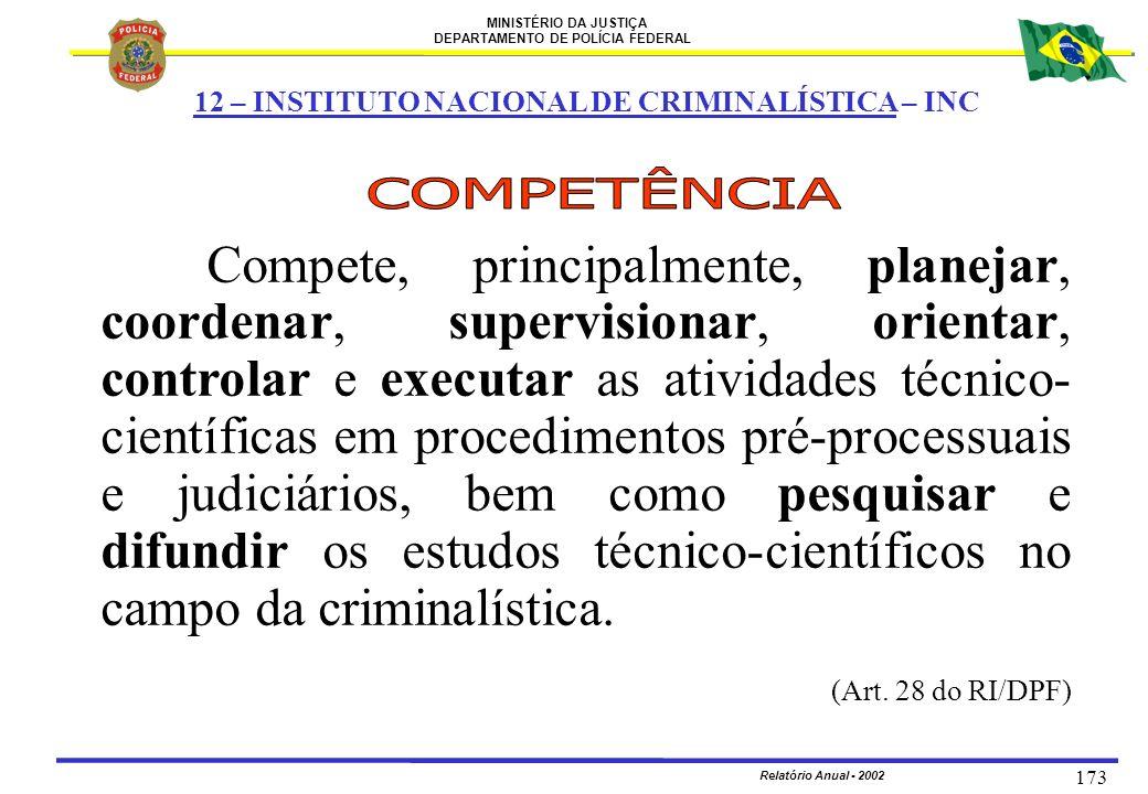 MINISTÉRIO DA JUSTIÇA DEPARTAMENTO DE POLÍCIA FEDERAL Relatório Anual - 2002 173 Compete, principalmente, planejar, coordenar, supervisionar, orientar
