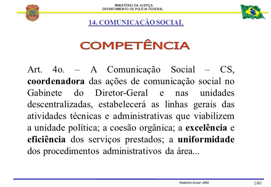 MINISTÉRIO DA JUSTIÇA DEPARTAMENTO DE POLÍCIA FEDERAL Relatório Anual - 2002 190 14. COMUNICAÇÃO SOCIAL Art. 4o. – A Comunicação Social – CS, coordena