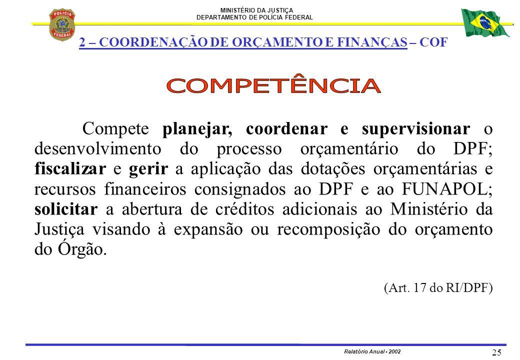 MINISTÉRIO DA JUSTIÇA DEPARTAMENTO DE POLÍCIA FEDERAL Relatório Anual - 2002 25 Compete planejar, coordenar e supervisionar o desenvolvimento do proce