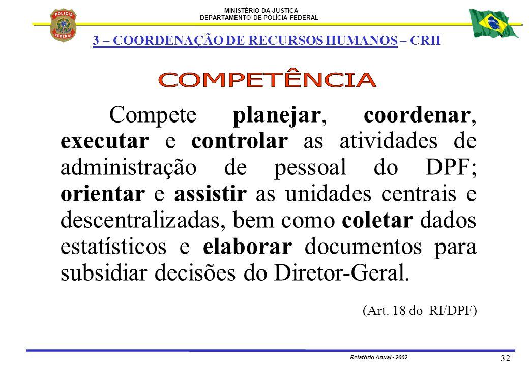 MINISTÉRIO DA JUSTIÇA DEPARTAMENTO DE POLÍCIA FEDERAL Relatório Anual - 2002 32 3 – COORDENAÇÃO DE RECURSOS HUMANOS – CRH Compete planejar, coordenar,