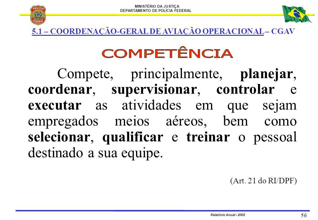 MINISTÉRIO DA JUSTIÇA DEPARTAMENTO DE POLÍCIA FEDERAL Relatório Anual - 2002 56 Compete, principalmente, planejar, coordenar, supervisionar, controlar