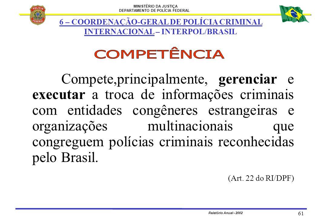 MINISTÉRIO DA JUSTIÇA DEPARTAMENTO DE POLÍCIA FEDERAL Relatório Anual - 2002 61 Compete,principalmente, gerenciar e executar a troca de informações cr