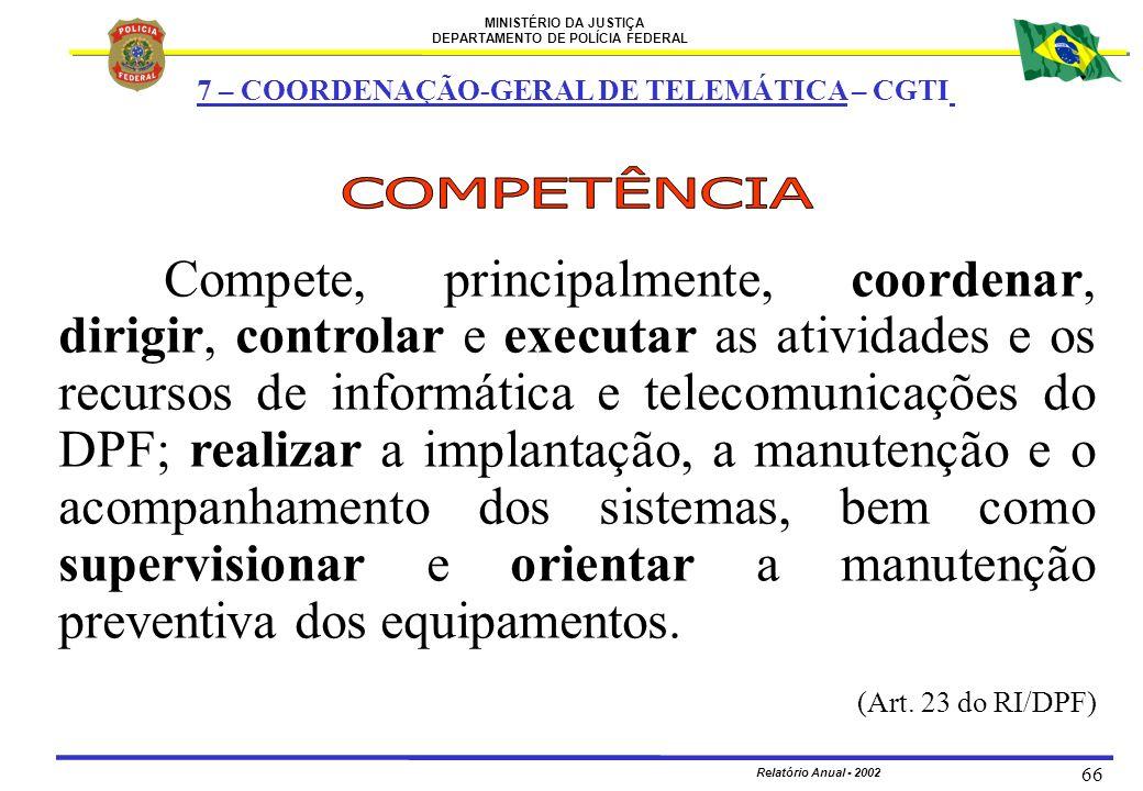 MINISTÉRIO DA JUSTIÇA DEPARTAMENTO DE POLÍCIA FEDERAL Relatório Anual - 2002 66 Compete, principalmente, coordenar, dirigir, controlar e executar as a