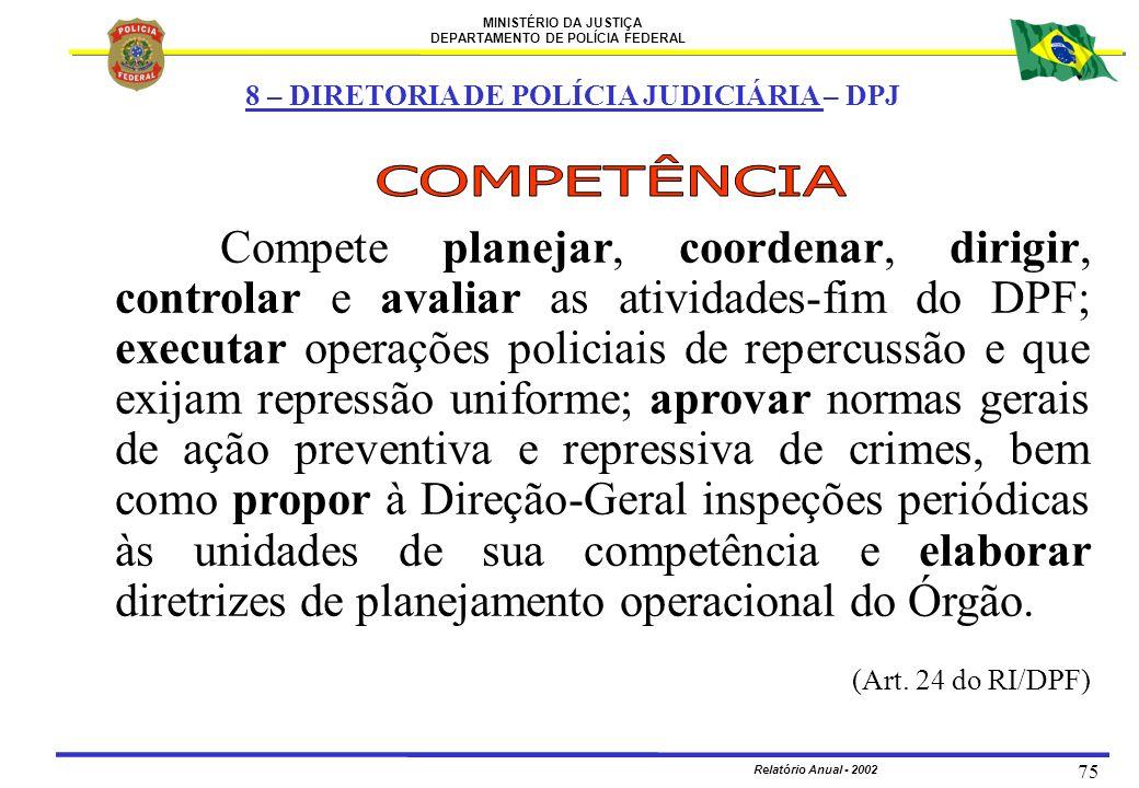MINISTÉRIO DA JUSTIÇA DEPARTAMENTO DE POLÍCIA FEDERAL Relatório Anual - 2002 75 Compete planejar, coordenar, dirigir, controlar e avaliar as atividade