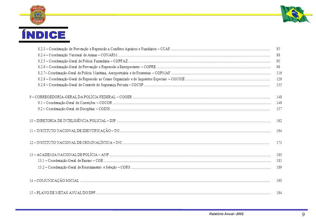 MINISTÉRIO DA JUSTIÇA DEPARTAMENTO DE POLÍCIA FEDERAL Relatório Anual - 2002 180 Realizar o recrutamento, a seleção e a formação de pessoal para o ingresso nos cargos da Carreira Policial Federal; realizar planos, estudos e pesquisas que visem ao estabelecimento de doutrina orientadora, em alto nível, das atividades policiais do país, bem como promover a difusão de matéria doutrinária, informações e estudos, sobre a evolução dos serviços e técnicas policiais e estabelecer intercâmbio com as escolas de polícia do país e do estrangeiro.