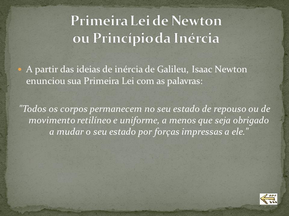 A partir das ideias de inércia de Galileu, Isaac Newton enunciou sua Primeira Lei com as palavras: