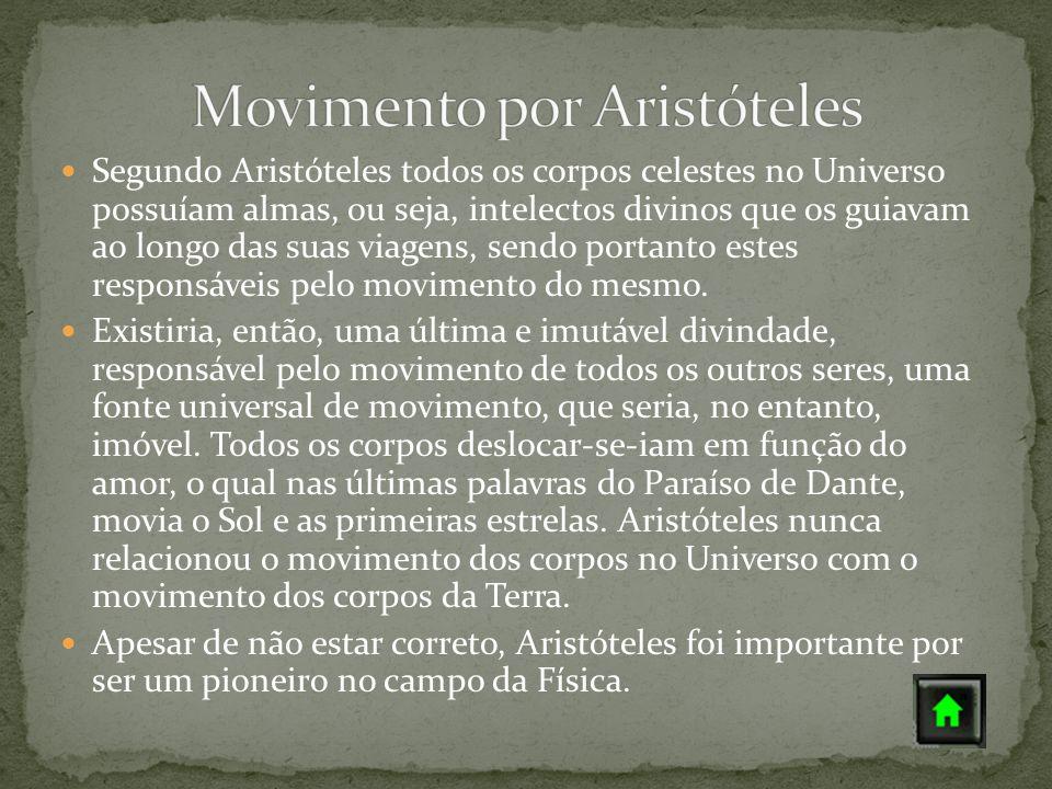 Segundo Aristóteles todos os corpos celestes no Universo possuíam almas, ou seja, intelectos divinos que os guiavam ao longo das suas viagens, sendo p