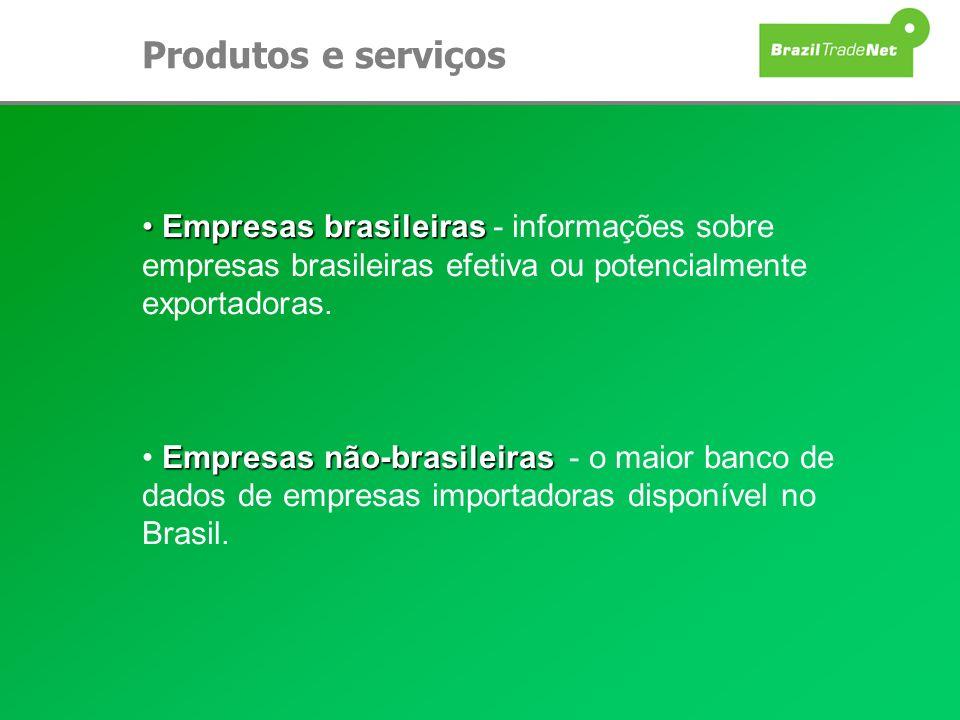 Produtos e serviços Empresas brasileiras Empresas brasileiras - informações sobre empresas brasileiras efetiva ou potencialmente exportadoras. Empresa