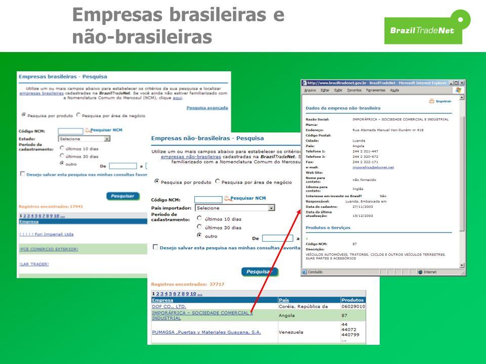 Empresas brasileiras e não-brasileiras