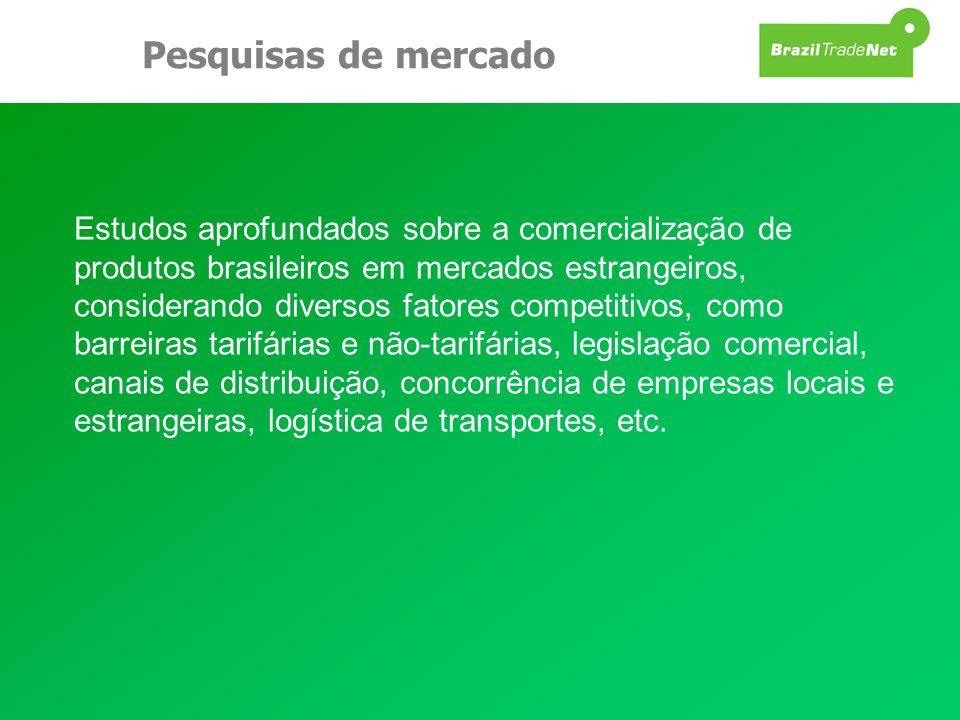 Pesquisas de mercado Estudos aprofundados sobre a comercialização de produtos brasileiros em mercados estrangeiros, considerando diversos fatores comp