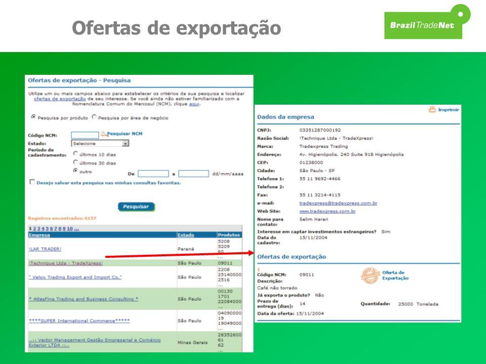 Ofertas de exportação