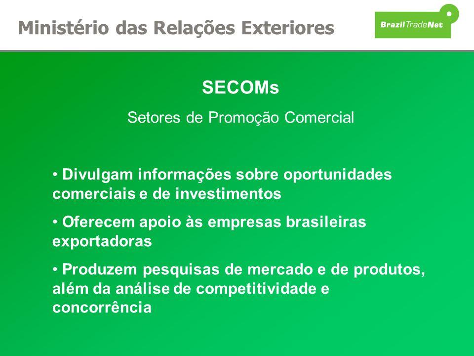 SECOMs Setores de Promoção Comercial Divulgam informações sobre oportunidades comerciais e de investimentos Oferecem apoio às empresas brasileiras exp