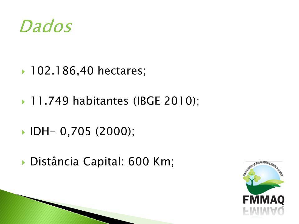 102.186,40 hectares; 11.749 habitantes (IBGE 2010); IDH- 0,705 (2000); Distância Capital: 600 Km;