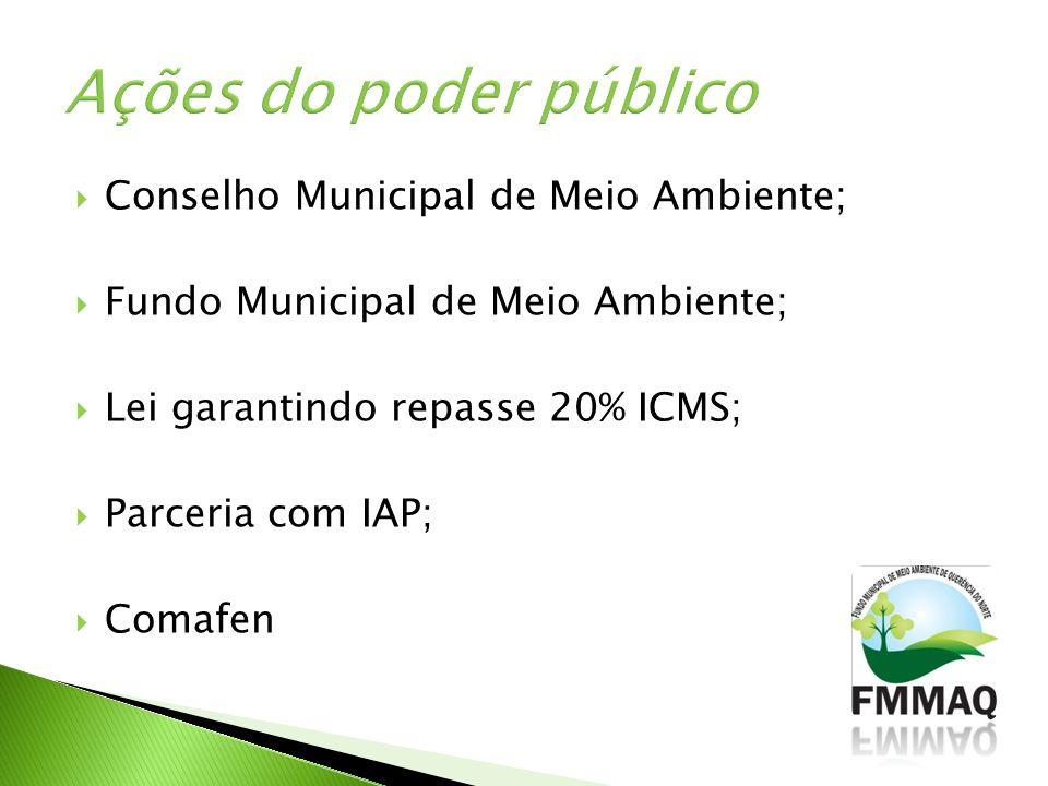 Conselho Municipal de Meio Ambiente; Fundo Municipal de Meio Ambiente; Lei garantindo repasse 20% ICMS; Parceria com IAP; Comafen