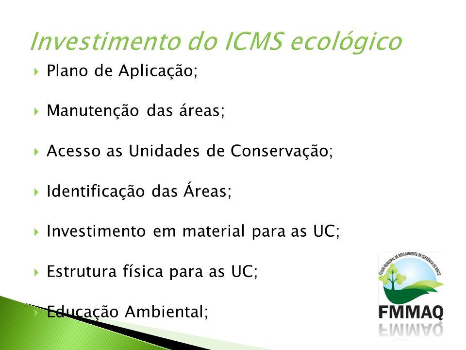 Plano de Aplicação; Manutenção das áreas; Acesso as Unidades de Conservação; Identificação das Áreas; Investimento em material para as UC; Estrutura f