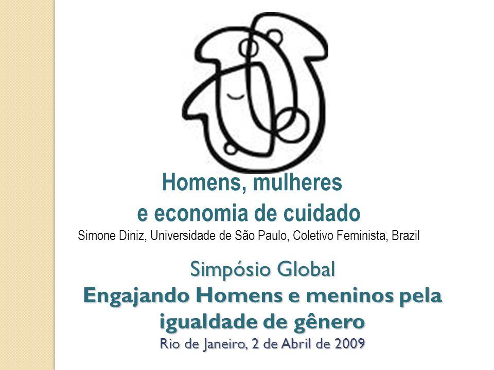 Simpósio Global Engajando Homens e meninos pela igualdade de gênero Rio de Janeiro, 2 de Abril de 2009 Homens, mulheres e economia de cuidado Simone D