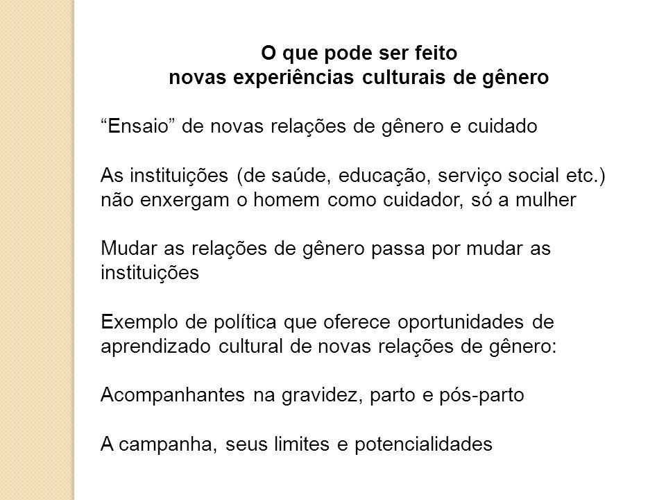 O que pode ser feito novas experiências culturais de gênero Ensaio de novas relações de gênero e cuidado As instituições (de saúde, educação, serviço