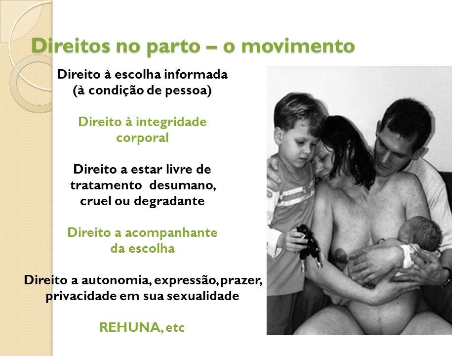 Direitos no parto – o movimento Direito à escolha informada (à condição de pessoa) Direito à integridade corporal Direito a estar livre de tratamento