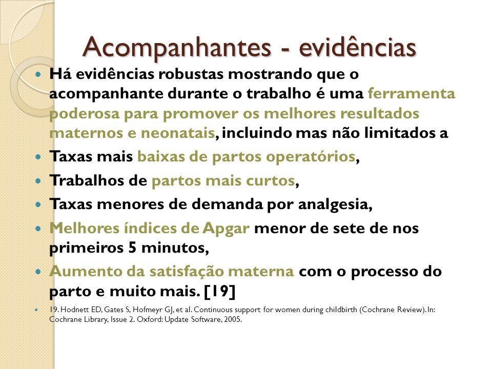 Acompanhantes - evidências Há evidências robustas mostrando que o acompanhante durante o trabalho é uma ferramenta poderosa para promover os melhores