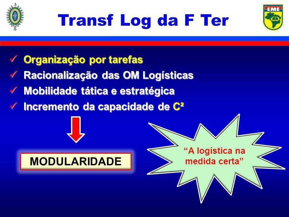 Centralização dos meios e descentralização seletiva dos recursos Centralização dos meios e descentralização seletiva dos recursos Redução de estágios intermediários Redução de estágios intermediários Flexibilidade e resiliência da cadeia de Ap Log Flexibilidade e resiliência da cadeia de Ap Log Integração da cadeia de Ap Log (fornecedores/OM Log/usuários) Integração da cadeia de Ap Log (fornecedores/OM Log/usuários)