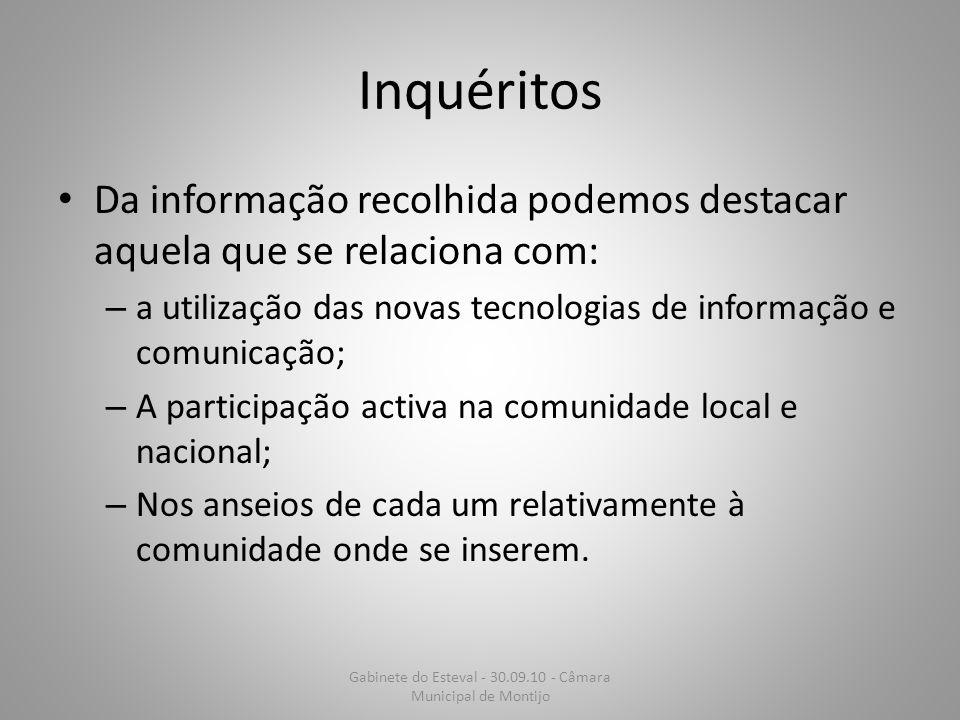 Inquéritos Da informação recolhida podemos destacar aquela que se relaciona com: – a utilização das novas tecnologias de informação e comunicação; – A