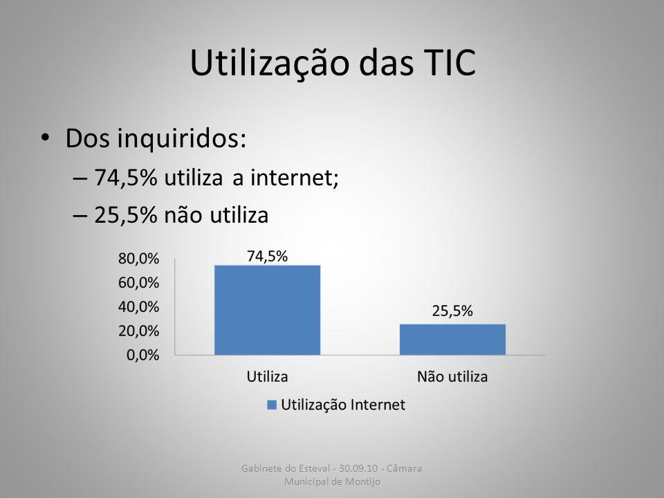 Utilização das TIC Dos inquiridos: – 74,5% utiliza a internet; – 25,5% não utiliza Gabinete do Esteval - 30.09.10 - Câmara Municipal de Montijo