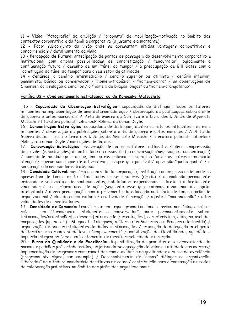 19 11 – Visão: fotografia da ambição / proposta de mobilização-motivação no âmbito dos contextos corporativo e da família corporativa (a jusante e a m