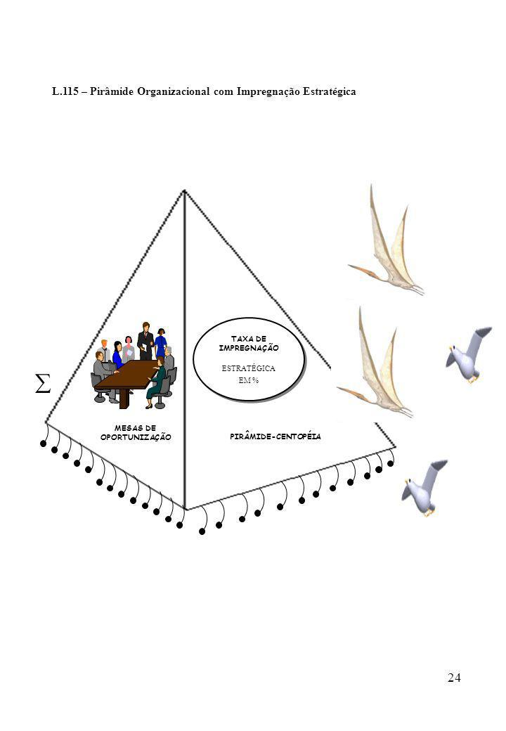 24 L.115 – Pirâmide Organizacional com Impregnação Estratégica PIRÂMIDE-CENTOPÉIA TAXA DE IMPREGNAÇÃO ESTRATÉGICA EM % TAXA DE IMPREGNAÇÃO ESTRATÉGICA