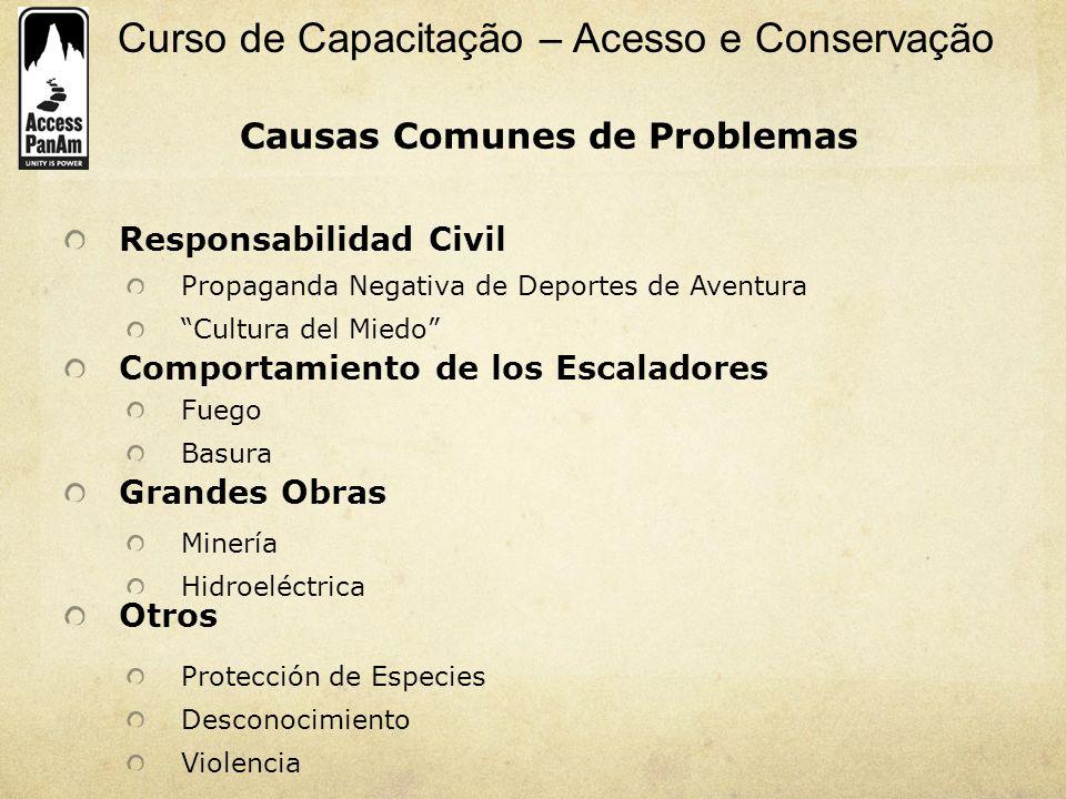 Curso de Capacitação – Acesso e Conservação Causas Comunes de Problemas Responsabilidad Civil Comportamiento de los Escaladores Grandes Obras Otros Pr